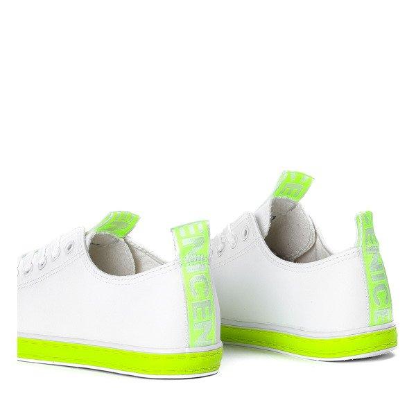 ac102452c5d64 Kliknij, aby powiększyć · Biało - zielone trampki ze skóry ekologicznej  Sanix - Obuwie Kliknij, aby powiększyć