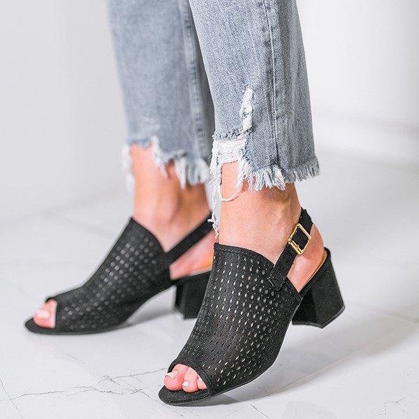 7d07a56c30eec Czarne ażurowe sandały na słupku Farrell - Obuwie - Czarny ...