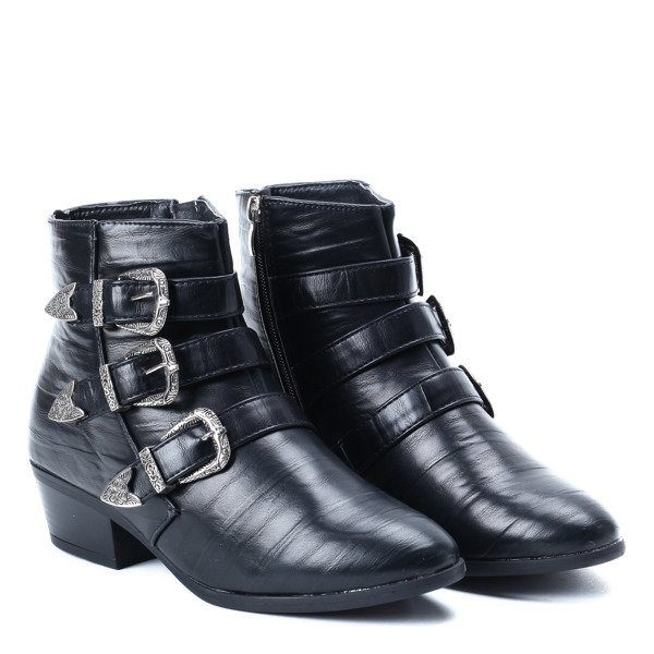 55d3863b Czarne botki z klamerkami - Obuwie - Czarny | Royalfashion.pl ...