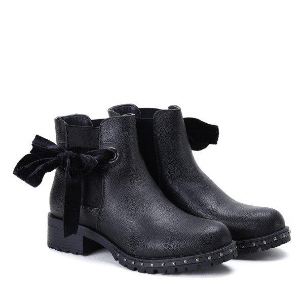 a392fec8137d0 Czarne botki z kokardką Aimee - Obuwie - | Royalfashion.pl - sklep z ...
