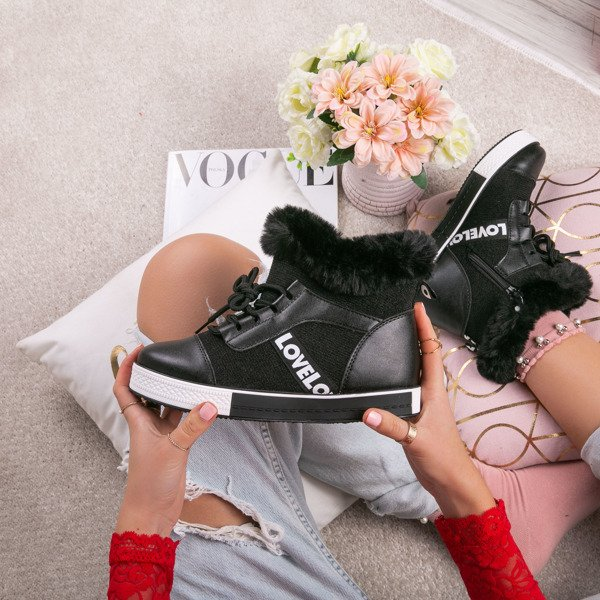 Szare buty sportowe z futerkiem Gracelyn Obuwie