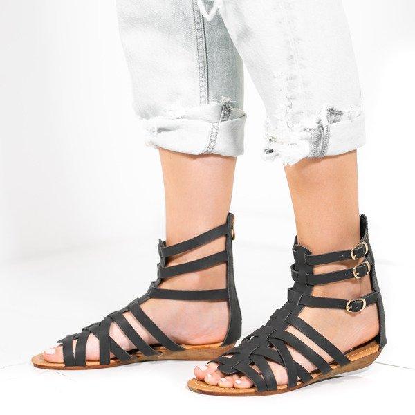 da6bd3e5c1f4d Czarne sandały, gladiatorki na niskim koturnie Skye- Obuwie - Czarny ...
