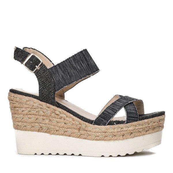 3fc35408 Czarne sandały na koturnie Kenya- Obuwie - Czarny | Royalfashion.pl ...