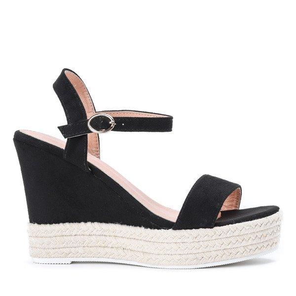 836a61ca ... Czarne sandały na koturnie Jokin- Obuwie Kliknij, aby powiększyć ...