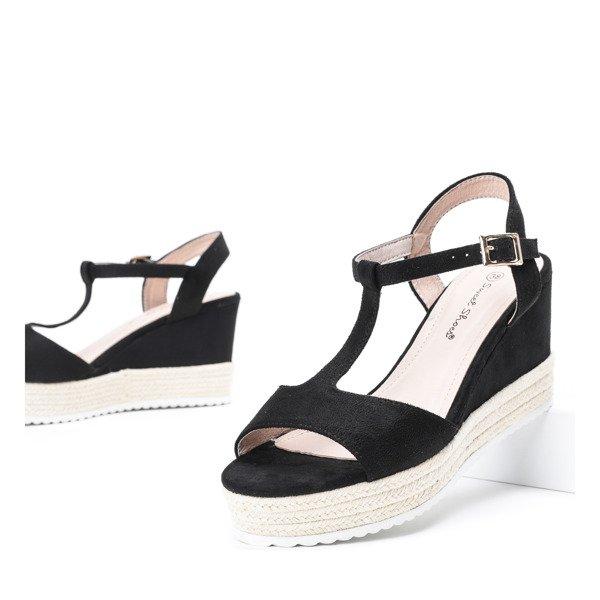 af8d6ab6 Czarne sandały na koturnie Sehiane - Obuwie Kliknij, aby powiększyć ...