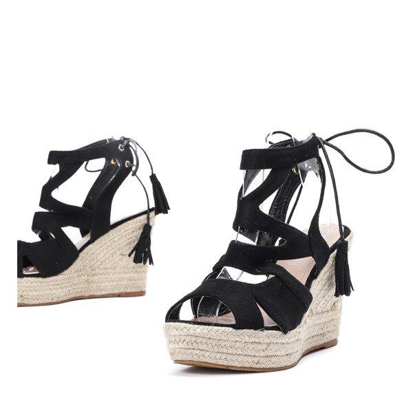3092933f Czarne sandały na wysokiej koturnie Milton - Obuwie Kliknij, aby powiększyć  ...