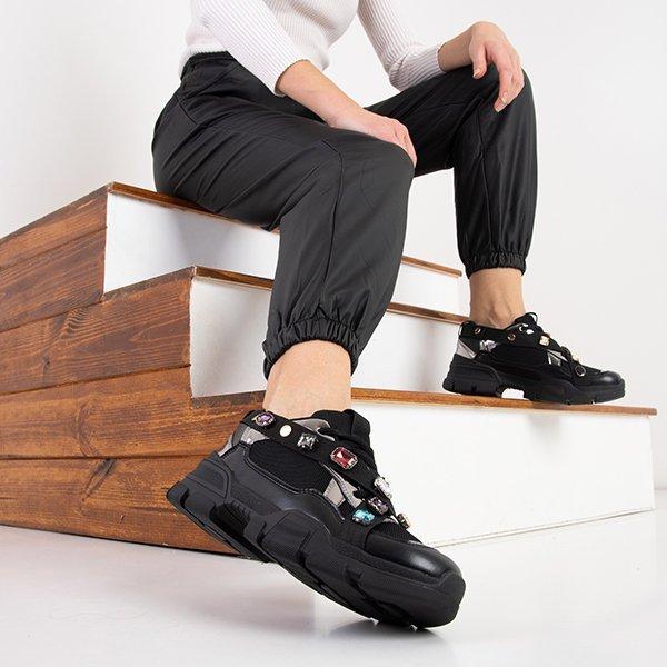 Czarne Sneakersy Damskie Na Grubej Podeszwie Jocasta Obuwie Czarny Royalfashion Pl Sklep Z Butami Online
