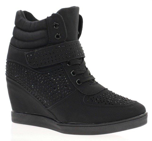 e1eda3797a2c Czarne Obuwie pl Z Sneakersy Cyrkoniami Royalfashion Ozdobnymi wwqACpP