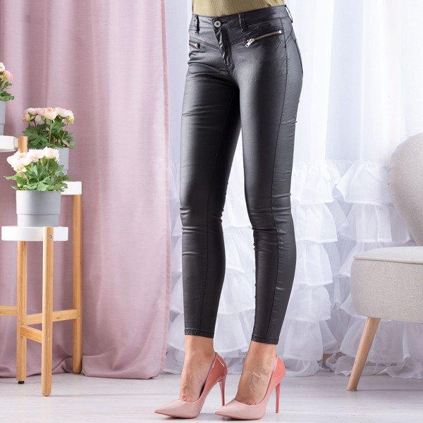 Czarne eko skórzane spodnie Spodnie