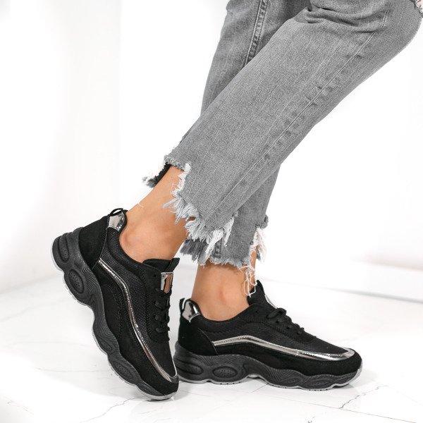 5b8536db Czarne sportowe buty na wyższej podeszwie Zola - Obuwie Kliknij, aby  powiększyć ...