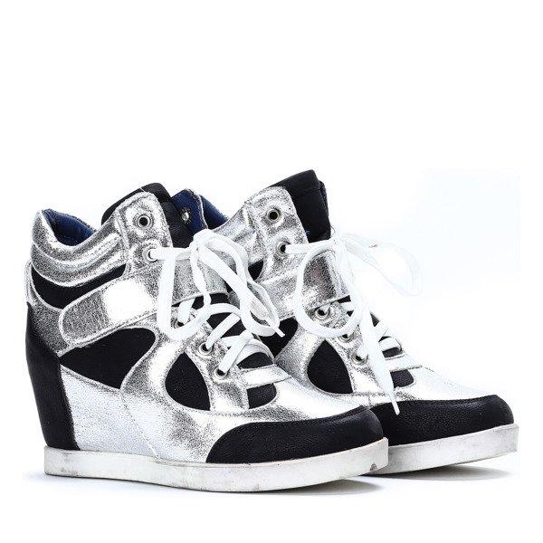 acac6ac7 ... Czarno-białe sneakersy na koturnie Lefkada - Obuwie Kliknij, aby  powiększyć ...