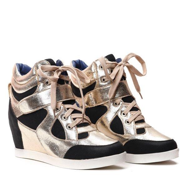 8f7d8975 Czarno-złote sneakersy na koturnie - Obuwie Kliknij, aby powiększyć ...