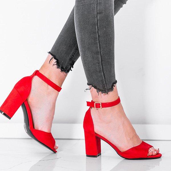 313753a2dda20b Czerwone sandały z eko - zamszu na słupku Oti - Obuwie - Czerwony ...