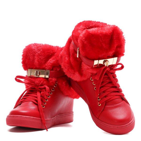 251d331e771a6 Czerwone sneakersy z futerkiem na krytym koturnie LU BOO- Obuwie ...