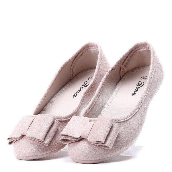 88174b1003ab03 Jasno-różowe baleriny z kokardą Wake Me Up- Obuwie - Różowy ...