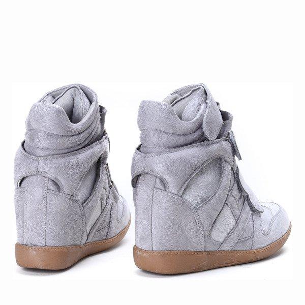7869098380bf Jasnoszare sneakersy na koturnie Barbra - Obuwie - Szary ...