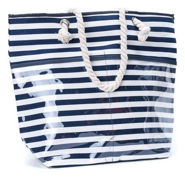 27fdba281e7c8 Plażowa torba w paski w kolorze granatowym - Torebki - Biały ...
