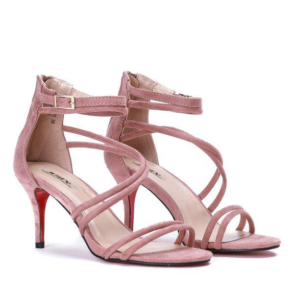 8b9888062e330c ... Różowe sandały na niskiej szpilce Joleen - Obuwie Kliknij, aby  powiększyć