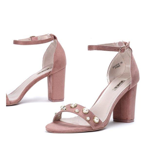 25ffe973dd5ea1 Różowe sandały na słupku z perełkami Gricelle - Obuwie - Różowy ...