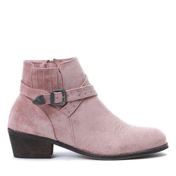 5ec47425343f7 Różowe sztyblety Lesley - Obuwie - Różowy   Royalfashion.pl - sklep ...