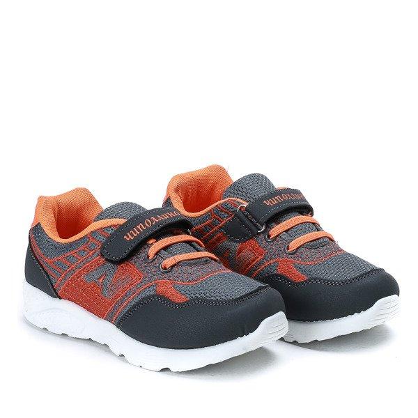 Szaro pomarańczowe dziecięce buty sportowe Sammy Obuwie