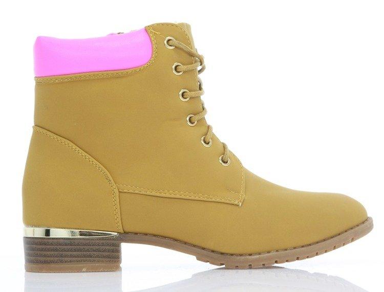 8b53fa016c3c0d Sznurowane botki - kolor camel Astiane - Obuwie Kliknij, aby powiększyć ...