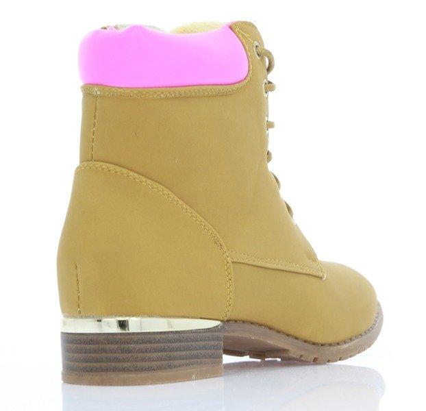 6a19a36f28fbbd ... Sznurowane botki - kolor camel Astiane - Obuwie Kliknij, aby powiększyć  ...