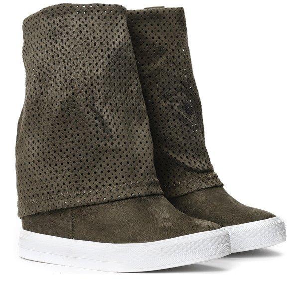 5cb2e9dc Zielone sneakersy ażurowe na koturnie Ingrid- Obuwie - Zielony ...