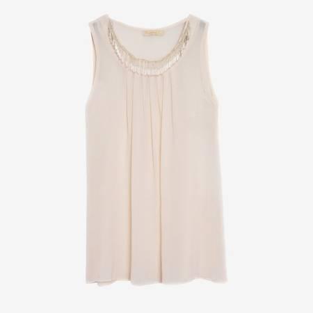 Beżowa damska bluzka z ozdobami - Odzież