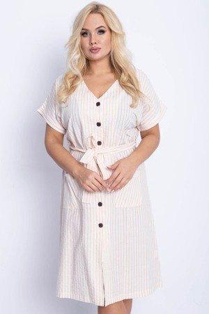 Beżowa sukienka w paski PLUS SIZE - Odzież