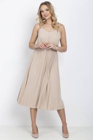 Beżowa sukienka z plisowanym dołem - Odzież