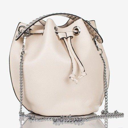 Beżowa torebka na ramię ze srebrnymi dżetami - Torebki