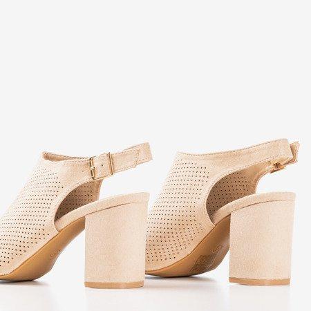 Beżowe ażurowe sandały na wyższym słupku Solana - Obuwie
