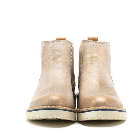 Beżowe botki z elastyczną cholewką - Obuwie