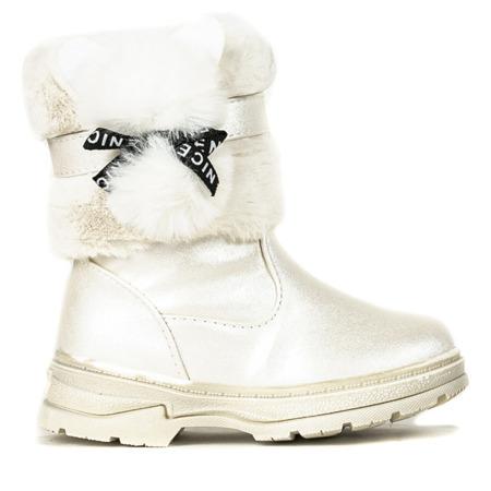 Beżowe dziewczęce śniegowce Bear - Obuwie