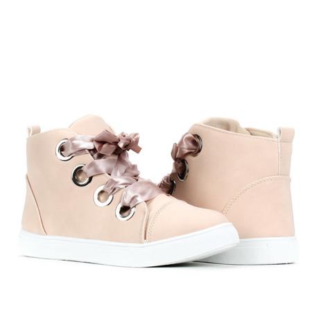 Beżowe, gładkie sneakersy Ariella - Obuwie