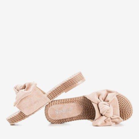 Beżowe klapki z kokardką Sabella - Obuwie