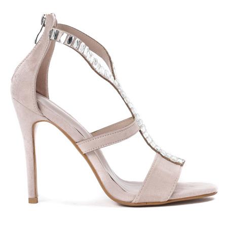 Beżowe sandały na wysokiej szpilce Alexandre - Obuwie