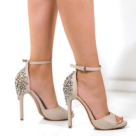 Beżowe sandały na wysokiej szpilce z ozdobnymi kryształkami Frozena - Obuwie