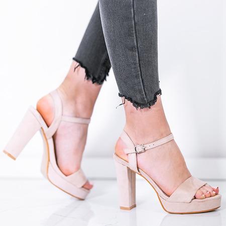 Beżowe sandały na wysokim słupku Victoriana - Obuwie