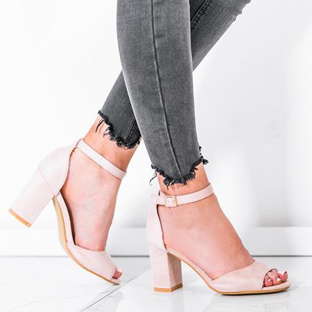 Beżowe sandały z eko - zamszu na słupku Oti - Obuwie