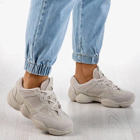 Beżowe sneakersy damskie na grubej podeszwie Crisscross - Obuwie