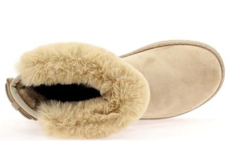 Beżowe śniegowce z kokardą - Obuwie