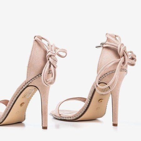 Beżowe wiązane sandały na wyższej szpilce Taya - Obuwie