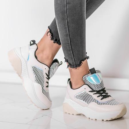 Beżowo-czarne sportowe buty na wyższej podeszwie Keith - Obuwie
