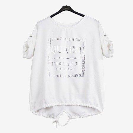 Biała damska tunika z napisami - Odzież