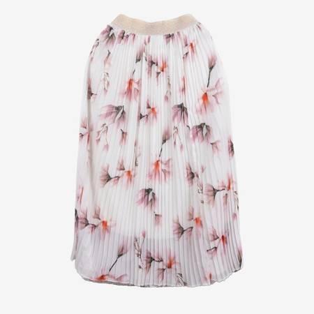 Biała plisowana spódnica midi z nadrukiem w kwiaty - Odzież