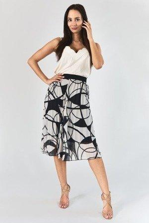 Biała plisowana spódnica z geometrycznym printem - Odzież