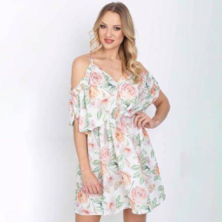 Biała sukienka w kwiaty - Odzież