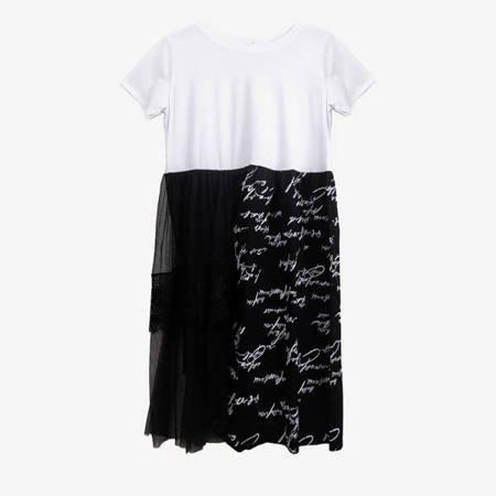 Biała sukienka z czarnym ozdobnym dołem - Odzież